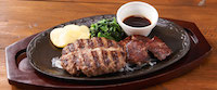 Wビーフのグリル〜カットステーキ&All Beefハンバーグ
