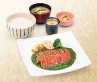 醤油麹漬け四元豚ロース炭火焼き定食 ~ほうれん草と蕪ソース~