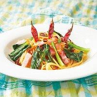 青菜とベーコンのペペロンチーノ