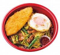 牛キャベ丼+フライドエッグ+白身フライ